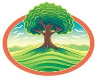 Arbre dans la trame Paysage de nature avec l'arbre illustration de vecteur