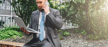 Arbre dans le domaine Jeune homme d'affaires barbu dans le costume et lien se reposant en parc sur le banc, tenant l'ordinateur p photographie stock