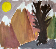 Arbre dans les montagnes, illustration d'aquarelle Photos stock