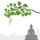 Arbre de Bodhi avec la cloche d'or de la tradition thaïlandaise, Visakha Puja Day illustration stock