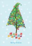 Arbre de cadeaux de Noël photos stock