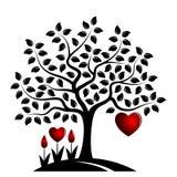 Arbre de coeur et fleurs de coeur images stock
