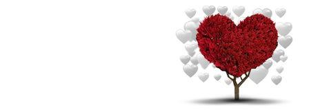Arbre de coeur de valentines et fond de coeurs d'amour Image stock