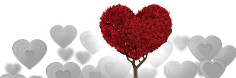 Arbre de coeur de valentines et fond de coeurs d'amour Photographie stock libre de droits