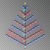 Arbre de couleur de Noël de ficelle de lumières Décoration transparente d'effet d'isolement sur le fond réaliste illustration de vecteur