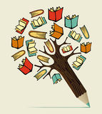 Arbre de crayon de concept d'éducation de lecture Photographie stock