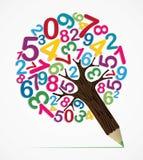 Arbre de crayon de concept de variété de nombre Image libre de droits