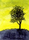 Arbre de désert de peinture à l'huile Photos libres de droits