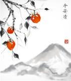 arbre de Date-prune avec les fruits et la montagne oranges de Fujiyama sur le fond blanc illustration libre de droits
