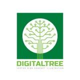 Arbre de Digital - dirigez l'illustration de concept de calibre de logo dans le style plat Signe de technologie de réseau informa Image libre de droits