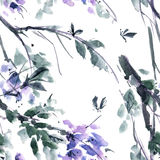 Arbre de fleur d'aquarelle Photos libres de droits