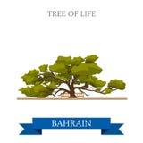 Arbre de la vie dans le voyage plat d'attraction de vecteur de points de repère du Bahrain illustration stock