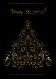 Arbre de Noël à jour d'or avec des croix Photographie stock libre de droits