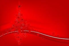 Arbre de Noël à l'arrière-plan d'étoiles Images stock