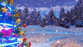 Arbre de Noël à la fin de nuit d'hiver de chutes de neige vers le haut de 4K illustration de vecteur