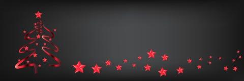 arbre de Noël à la mode avec des étoiles sur un fond panoramique, le copie-espace pour le texte illustration libre de droits