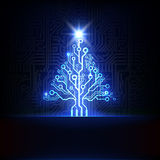 Arbre de Noël électronique de vecteur Images libres de droits