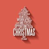 Arbre de Noël abstrait de vecteur fait à partir des mots Image stock