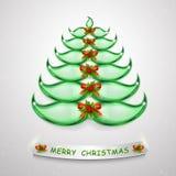 Arbre de Noël abstrait du vert 3D Arbre de Noël en verre et éclairé pour la conception créative Arbre élégant du vert 3D de Joyeu illustration stock