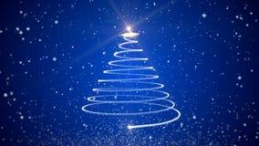 Arbre de Noël animé visuel sur le fond bleu illustration de vecteur