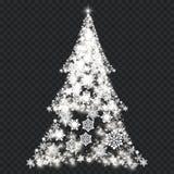 Arbre de Noël argenté sur le fond transparent Images libres de droits