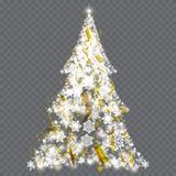 Arbre de Noël argenté sur le fond transparent Photos stock