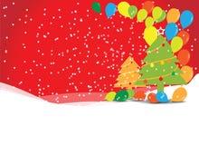 Arbre de Noël avec des ballons Photos stock