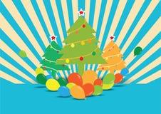 Arbre de Noël avec des ballons Photo stock