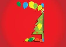 Arbre de Noël avec des ballons sur le fond rouge Image stock