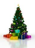 Arbre de Noël avec des boîte-cadeau sur un fond blanc Photographie stock libre de droits