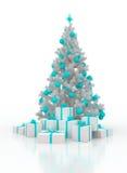 Arbre de Noël avec des boîte-cadeau sur un fond blanc Images stock