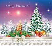 Arbre de Noël avec des bougies et des boules de Noël illustration libre de droits