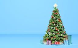 Arbre de Noël avec des cadeaux dans la chambre Nouvelle année, vacances illustration stock