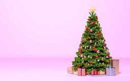 Arbre de Noël avec des cadeaux dans la chambre rose illustration libre de droits