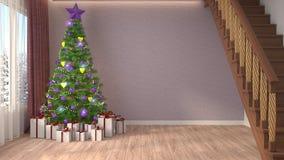 Arbre de Noël avec des décorations dans le salon illustrat 3d Photos stock