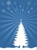 Arbre de Noël avec des flocons de neige Image libre de droits