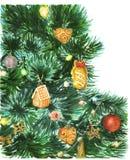 Arbre de Noël avec des jouets Images stock