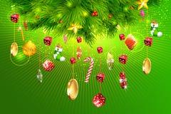 Arbre de Noël avec des pièces de monnaie d'argent, de matrices et de casino Images libres de droits