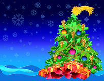 Arbre de Noël avec des présents Photographie stock