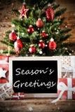 Arbre de Noël avec des salutations de saisons Photographie stock