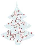 Arbre de Noël avec des salutations manuscrites Photo libre de droits