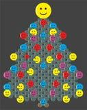 Arbre de Noël avec des smiley sur le fond foncé illustration stock