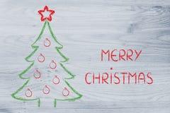 Arbre de Noël avec des souhaits de vacances Photos libres de droits