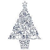 Arbre de Noël avec différents symboles Photos stock