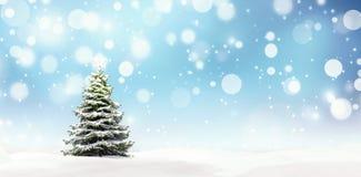 Arbre de Noël avec l'étoile brillante, fond de nouvelle année illustration libre de droits