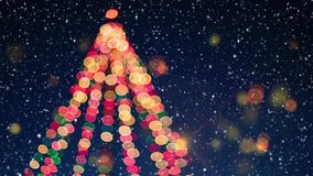 Arbre de Noël avec l'effet de neige et de bokeh illustration stock