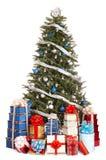 Arbre de Noël avec la bille bleue, cadre de cadeau de groupe. photo stock