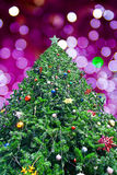 Arbre de Noël avec la lumière d'abstrac Photos libres de droits