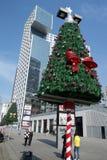 Arbre de Noël avec le bâtiment moderne Photos libres de droits