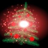 Arbre de Noël avec le fond de Noël et le vecteur de carte de voeux Image stock